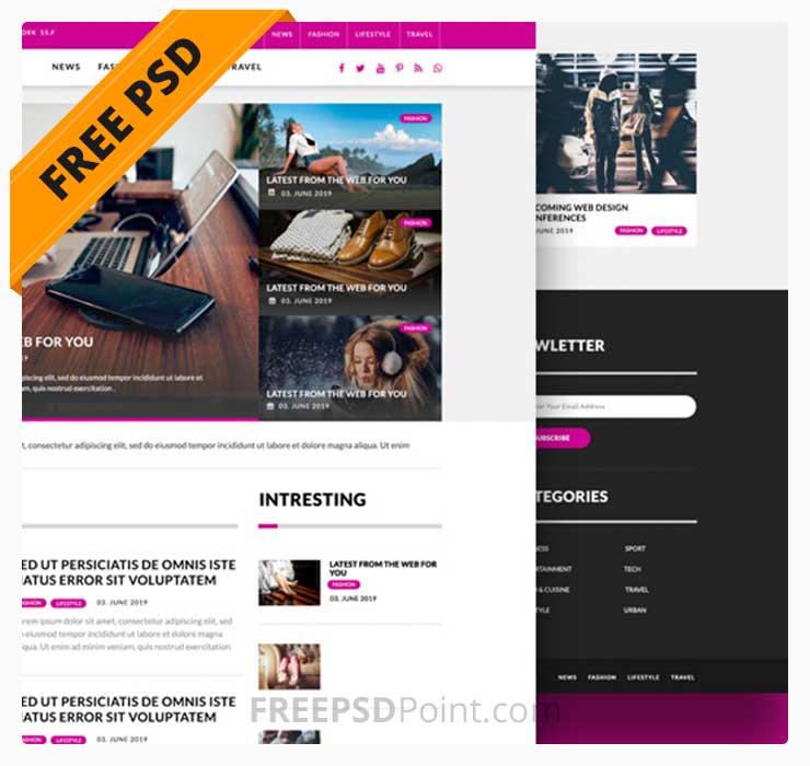 Free Indesign Template Multipurpose Magazine: Free Multipurpose Magazine Blog Website PSD Template