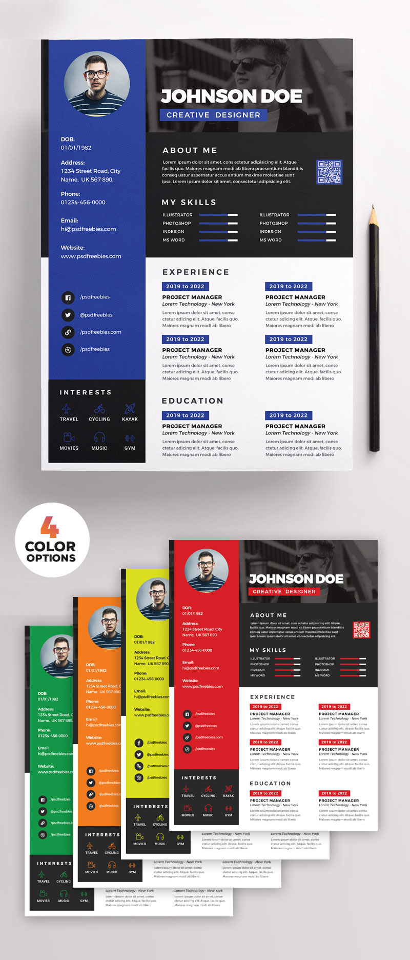 Awesome Resume CV Design PSD Bundle Preview Full
